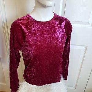 FWB Pearl fuchsia pink Velvet Top shirt Med soft
